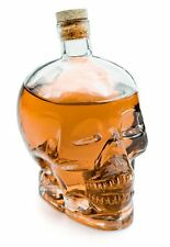 SKULL CRYSTAL DECANTER GLASS SHAPED LIKE SKULL 100mm High Red Clear Or Blue NEW