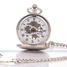 Klassisch Silber Handaufzug Mechanisch Römisch Taschenuhr Skelett Uhr Geschenk
