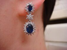3.25 CT T.W. STUNNING GENUINE SAPPHIRES AND DIAMONDS DANGLE EARRINGS 14K GOLD