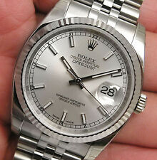 Rolex DATEJUST 116234 Mens Steel & White Gold Jubilee Silver Index Dial