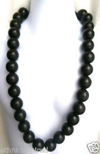 """ETHNIC INSPIRED: MENS EXTRA LARGE 28MM BLACK WOOD BEADS 36"""" LONG CHUNKY NECKLACE"""