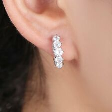 New Fashion White Gold Filled Cubic Zirconia Hoop Wedding Party Women's Earring