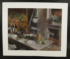Interieur mit gedecktem Tisch / schönes Pastell ,undeutlich signiert Met...? 68