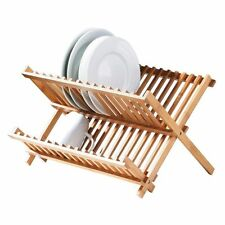 NEW RETRO FOLDABLE WOODEN KITCHEN SINK DISH DRAINER  PLATE CUPS DRYING RACK