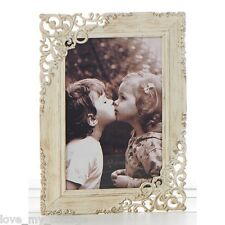 Vintage Shabby Chic Old Cream Lace Metal Photo Picture Frame Wedding Gift 4x6""