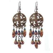 Beautiful Long Bohemian Dangle Earrings - Hook / Drop - Brown Ceramic Bead Boho
