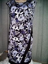 Cornflower blue floral wrinkle resistant pull on dinner party dress size 20 NEW
