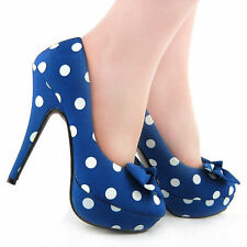 Ladies Dark Blue White Polka Dots Bow Platform High Heels Club Pumps Au Size 9