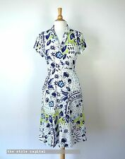SPORTSCRAFT [ Size 12 ] White, Lime & Navy print Cap Sleeve Summer Dress