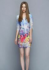 Women Lady Multicolor 3/4 sleeves Floral Tunic Formal Cocktail Party Mini Dress