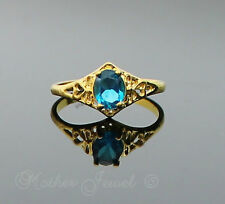 Great Gift Blue Love Heart Womens Girls Ladies  Ring Yellow Gold GP Size 8