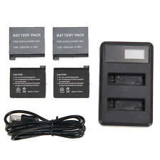 4 x 1600mAh Battery AHDBT-401 + Dual USB Charger For GoPro Hero 4 Camera Go Pro