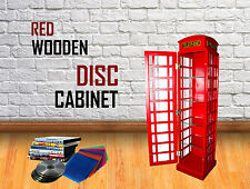 Red Wooden Telephone Booth DVD CD BOOK Storage Cabinet Medium Home Decoration