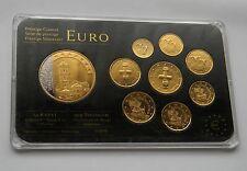 ZYPERN: Prestige Münzsatz, 24 kt Gold + Rhodium, mit Gedenkmedaille