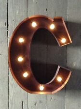 LED LIGHT CARNIVAL CIRCUS  RUST  METAL LETTER  C - WALL OR FREE STANDING 13INCH
