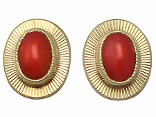 Vintage Coral and 18ct Yellow Gold Stud Earrings - Circa 1990