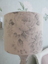Handmade Drum Lampshade Grey & Beige Faded Rose Floral French Linen Fabric 25cm