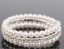 Hochzeit Armband Braut Strass Perlen Armschmuck silber-farbig dehnbar P2S1
