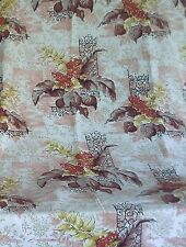 vintage curtains BARKCLOTH ish weave heavy cotton upholster weight leaf print A