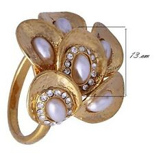 Luxury Womens Yellow Gold Filled Flower Opal Stainless Steel Claw Ring Size 7