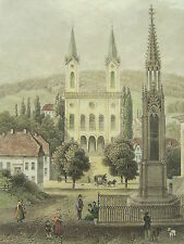 Original Stahlstich 1830-1860 Motiv: Kirche & Monument Friedrich Wilhelm II ...