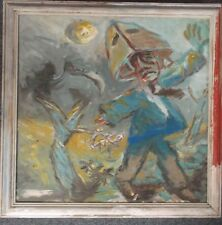 FRAMED OIL ON BOARD PAINTING by TREVOR FLYNN ABSTRACT TITLED FATHER FIGURE