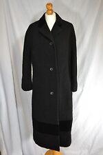 Vintage ladies black Aquascutum boucle coat velvet trim 1970s IMMACULATE 14/16