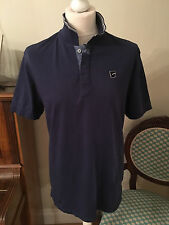 Men's G-Star Raw Sport Polo Shirt Short Sleeved Navy with Blue Trim Size L