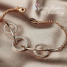 18K Yellow Gold Plated Simulated Diamond Sparkling 3 Circles Bracelet