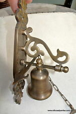 """small Front Door Bell pull chain solid aged brass old vintage style 8 """" hang"""