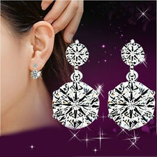 Women Elegant 925 Sterling Silver Cubic Zirconia Drop Stud Earrings Jewelry Gift