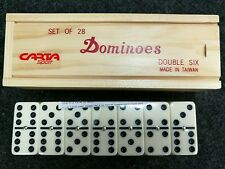 Double Six Club Pub League Dominoes with Spinners Set of 28 in Wooden Box