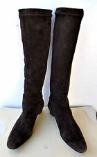 Robert Clergerie Knee High Stretch Suede Leather Boots Sz 6 Sold Out! RRP $1,050