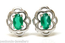 9ct White Gold Celtic Green Agate Studs Earrings Made in UK Gift Boxed