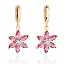 Pink&White Crystal Gold Plated Women Dangle Flower Hoop Earrings Jewelry Elegant