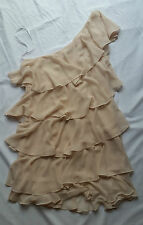 EX CON Forever New Cream Layered Dress One Shoulder Gatsby 20's Flapper Size 12