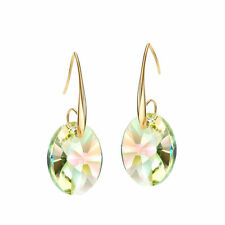 Sparkly Elegant Genuine Austrian Crystal Stone Lime Green Gold Plated Earrings