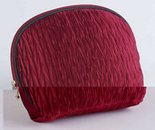 New BURGUNDY Faux Silk COSMETIC Make Up Beauty Toiletry BAG Fully Lined
