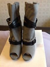 LAURA SCOTT GREY SUEDE HIGH HEEL PEEP TOE BOOTS. SIZE 6 EU 39. BNIB.