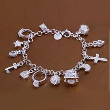 925 Stamped Sterling Silver Filled Crystal Pendant Charm Bracelet Bangle BL-A228