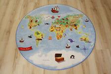Kinder Teppich Spielteppich Welt Karte 100cm rund