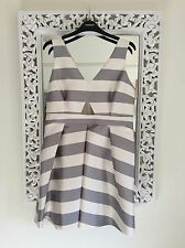 Topshop Ivory and Pale Grey Striped Satin Prom Dress, UK Size 12-14 Petite New
