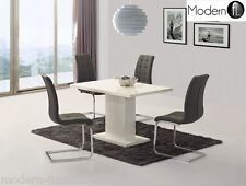 CONTEMPORARY WHITE HIGH GLOSS DINING TABLE WHITE PILLAR AND 4x GREY CHAIRS,