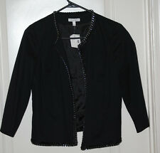 sexy Black stretch twill CHAIN ribbon trim cropped open front moto jacket 6 NEW