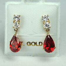 14K solid yellow gold teardrop natural red Garnet & white Topaz earring/teens