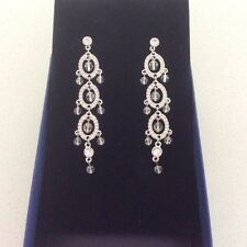 Authentic SWAROVSKI Chandelier Rhodium Drop Crystral Earrings BNWT & MImco pouch