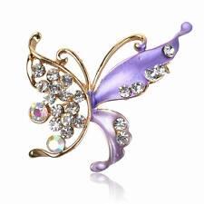 Hot Gemstone Diamante Butterfly Purple Enamel Breastpin Pin Brooch Bouquet Gift