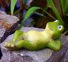 Gartenfigur Frosch Frösche Froschkönig liegend Tierfigur Gartendeko Teichdeko