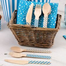 Blue Wooden Carnival Cutlery Set Party Tableware Boy Baby Shower Christening