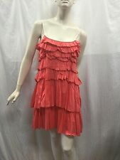 Country Road Size M Fits Size 12 Coral Cotton Ruffled Tiered Plaided Strap Dress